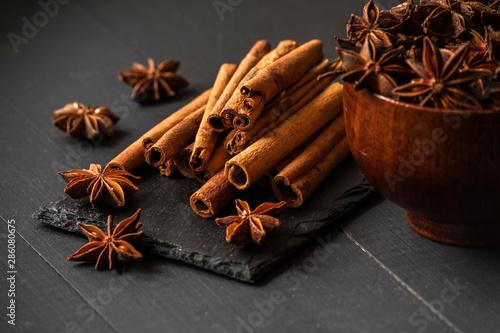 Fototapeta star anise with cinnamon sticks obraz