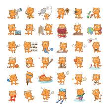 Set Of Cute Cartoon Cat Charac...