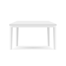 White Table Front View Illustration. Isometric 3d Furniture Vector Illustration. Simple Minimalistic Design Of Plastic Interior Office Item. Kitchen Or Dining Room Classic Household Appliance Element.