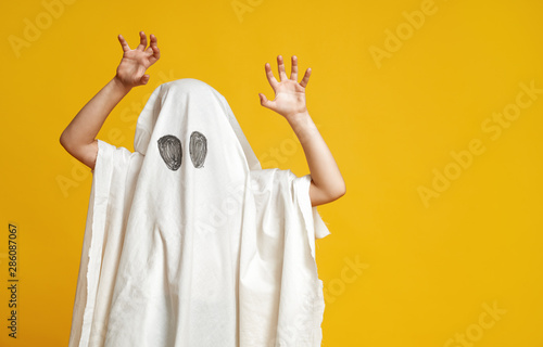 Photo  kid in ghost costume