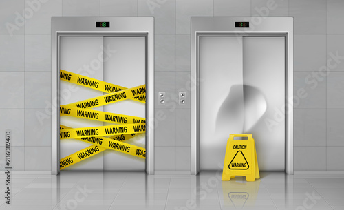 Fényképezés Broken elevators closed for repair or maintenance 3d realistic vector concept