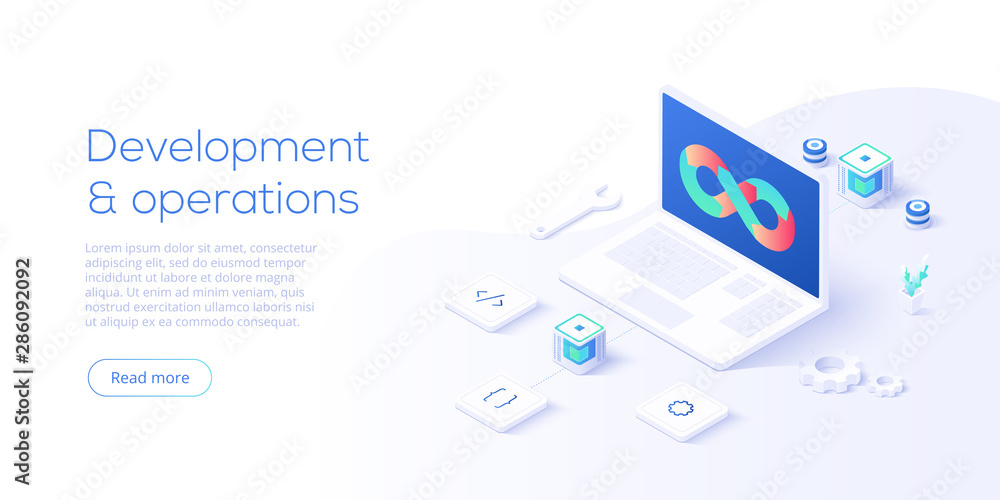 Fototapeta Web development concept in flat design. Developers or designers working at internet app or online service. Creative vector illustration. Web site landing page layout or banner template.