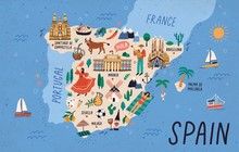 Map Of Spain With Touristic La...
