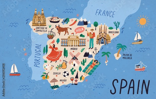 Cuadros en Lienzo Map of Spain with touristic landmarks or sights and national symbols - cathedrals, flamenco dancer, bull, sangria, paella, man playing guitar