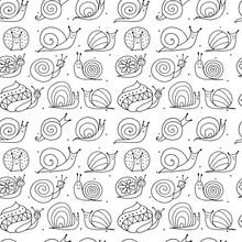 Funny Snails, Seamless Pattern...