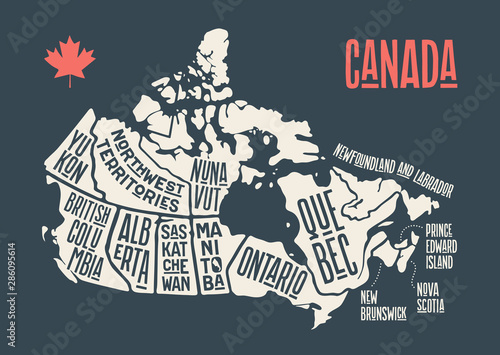 Photo Map Canada. Poster map of provinces and territories of Canada