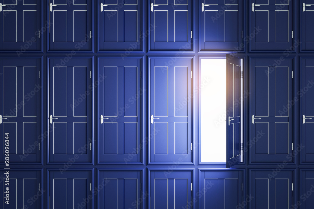 Fototapety, obrazy: Abstract blue doors to success