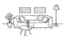 Sketch Living Room. Sofa, Lamp...