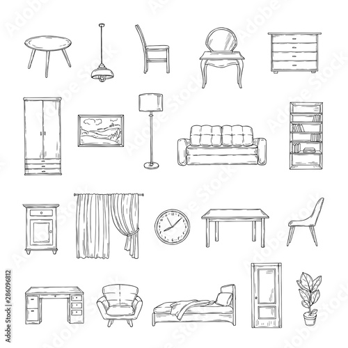 Sketch furniture. Bookcase and chairs, sofa and table, wardrobe and lamp home plants. Interior vintage hand drawn isolated elements. Furniture interior, table and sofa, chair and lamp illustraion Wall mural
