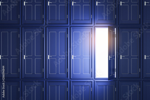 Fotomural  Abstract blue doors to success