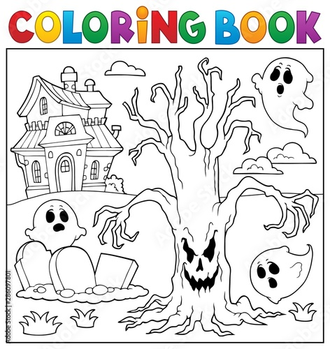 Montage in der Fensternische Für Kinder Coloring book spooky tree thematics 2