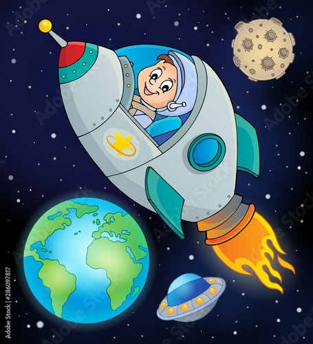 In de dag Voor kinderen Image with space theme 8