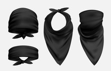 Black Bandana Realistic Illust...