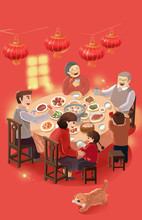 Spring Festival, Children, Families, Happy, Lovely, Women, Children, Mothers, New Year, Chinese New Year, China, Illustrations, New Year's Eve, Chinese Food, Chinese New Year's Dinner, New Year's Eve,