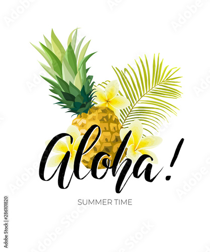 Tropical vector design with green palm leaves, plumeria flowers, pineapples and hand drawn Aloha inscription Canvas Print