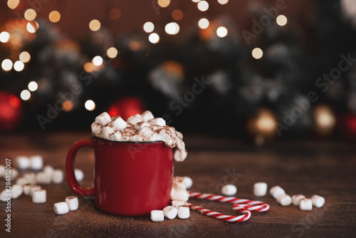 In de dag Chocolade Winter whipped cream hot coffee in a red mug with star shaped cookies and warm scarf - rural still life