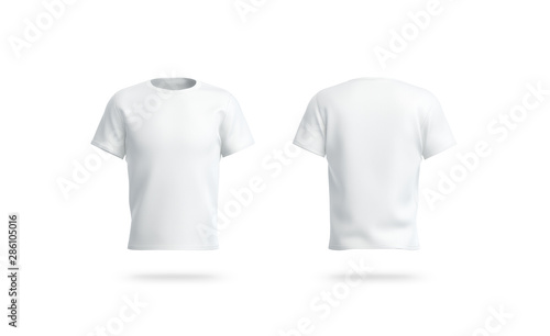 Valokuva  Blank white clean t-shirt mockup, isolated, front and back view,