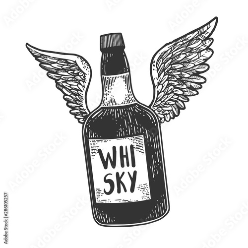 Photo Flying whiskey alcohol bottle with wings sketch engraving vector illustration