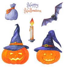 Watercolor Set Of Halloween Bright Elements. Jack O Lantern.