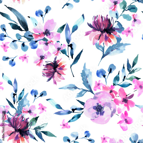 Watercolor Seamless Pattern of Vintage lilac Turquoise Flowers, Wildflowers. Natural Pink Floral Texture on White Background.