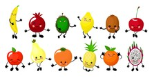 Set Of Colorful Images Of Cute Kawaii Fruits - Pear, Banana, Lemon, Apple, Pineapple, Orange, Persimmon. Isolated Elements On A White Background, Flat Style. Cute Characters For Kids, Vector Illustrat