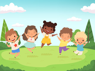 Happy kids background. Funny childrens playing and jumping laughing teen people vector characters. Happy girl and boy preschool, cartoon childhood illustration