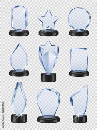 Glass trophies. Sport winners cup prizes award transparent from glass vector realistic collection. Winner cup made from glass, crystal prize illustration