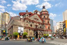 Binondo Church With Tuk-tuk In Manila,philippines