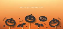 Happy Halloween Day Banner Vec...