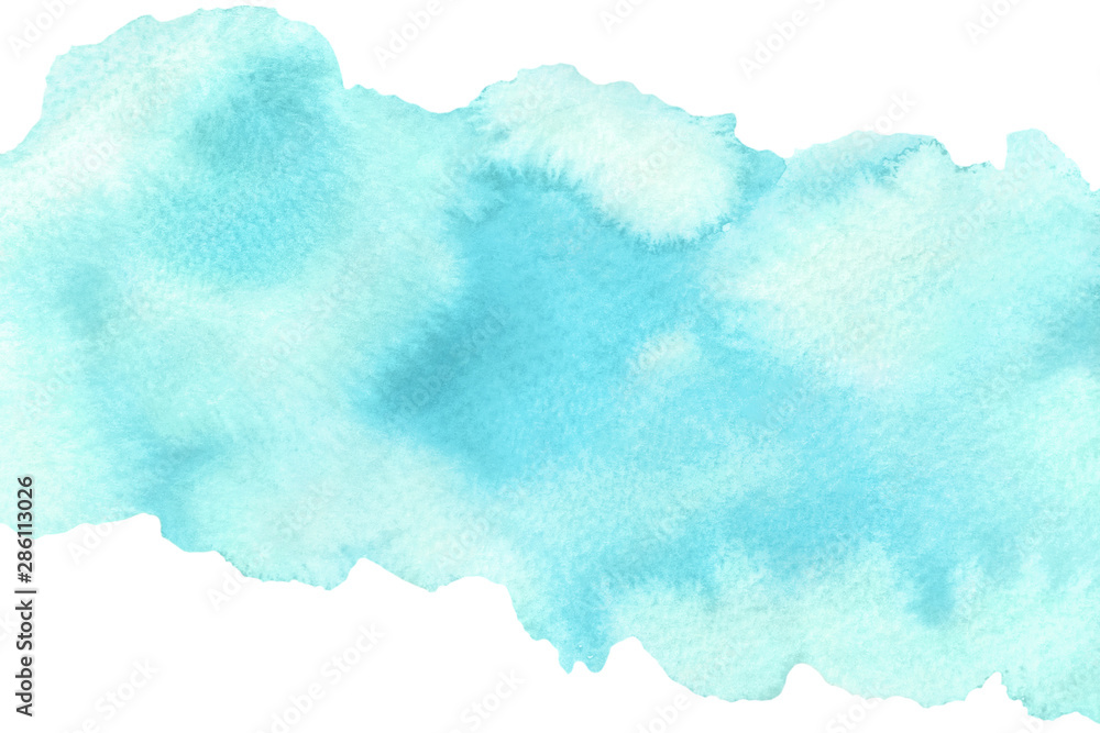 Fototapeta Abstract blue watercolorfill with stains on white background