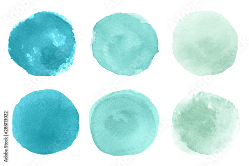 Valokuvatapetti A set of abstract watercolor round brush strokes on white background