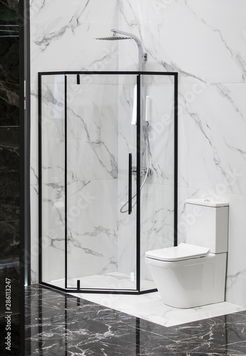 Modern bath room interior, black grid glass shower. Loft partition black cage with glass. Minimalistic modern shower Fototapete
