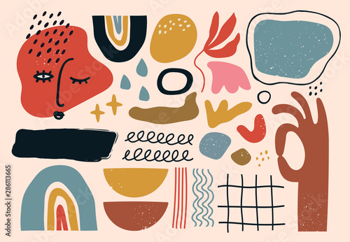 Set of hand drawn various shapes and doodle objects. Abstract contemporary modern trendy vector illustration. All elements are isolated - 286113665