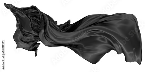 Wavy fabric on a white background. 3D rendering. Wallpaper Mural
