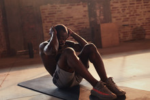 Sport Man Doing Abs Crunches Exercise, Fitness Workout At Gym