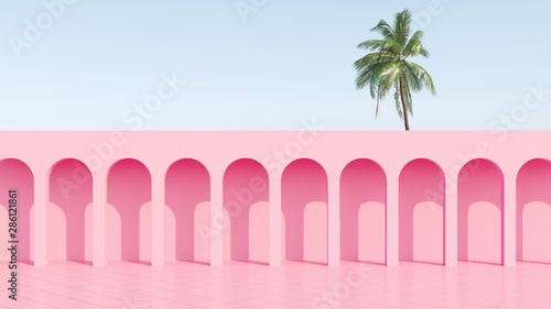 Obraz na płótnie Pink arc column with colorful curtains and tropical home plant for retro poster like stranger things