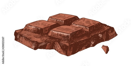 Elegant detailed realistic drawing of part of broken chocolate bar Fototapet