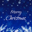 Blue Merry Christmas frame background with evergreen branches