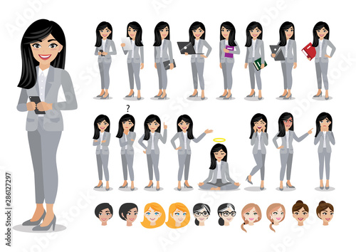 Foto Businesswoman cartoon character set