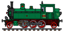 The Vectorized Hand Drawing Of A Retro Green Tank Engine Steam Locomotive