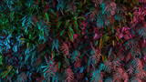 Neon tropical jungle forest leaves in vibrant color for retro poster background like stranger things. 80s 70s 60s. 3d rendering