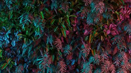 Fototapeta Liście Neon tropical jungle forest leaves in vibrant color for retro poster background like stranger things. 80s 70s 60s. 3d rendering