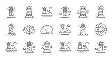 Lighthouse Line Icons. Searchlight Tower With Seagull For Marine Navigation Of Ships. Sea Pharos, Lighthouse Or Beacon Icons. Linear Set. Quality Line Set. Vector