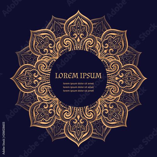 Fototapeta Luxury Gold Black Frame Vector Islamic Paisley Mandala Royal Pattern Oriental Design For Ramadan Card Christmas Ornament New Year
