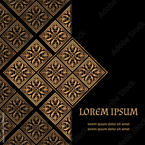 Fototapeta Luxury Background Vector Islamic Tile Royal Pattern Card Template Premium Design For Ramadan Iftar Party Christmas Or New Year Holiday