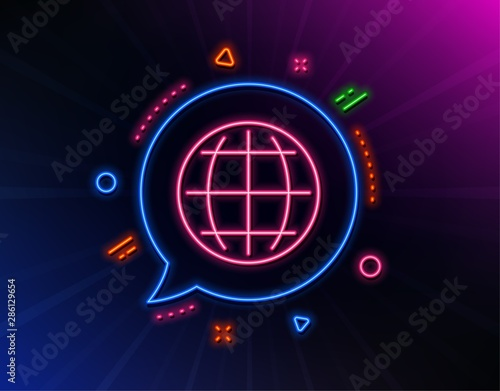 Globe line icon. Neon laser lights. World or Earth sign. Global Internet symbol. Glow laser speech bubble. Neon lights chat bubble. Banner badge with globe icon. Vector