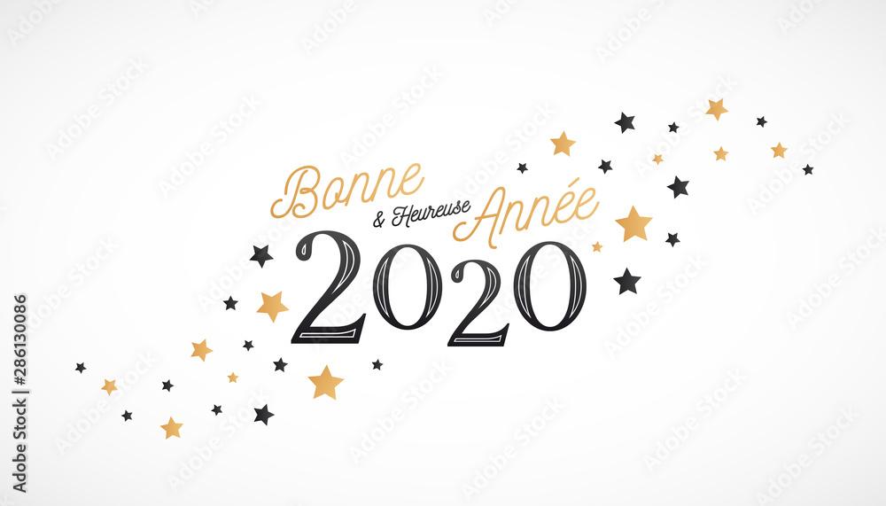 Fototapeta Bonne et Heureuse Année 2020, carte de voeux