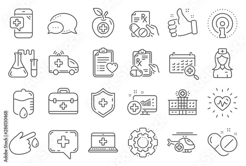 Medical rx line icons Wallpaper Mural