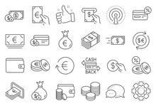Money Wallet Line Icons. Set O...