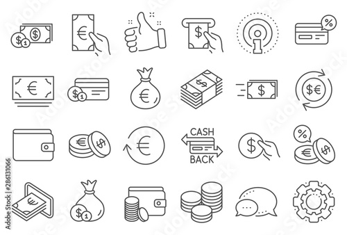 Fotomural Money wallet line icons